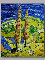 cheap -Ready to hang Stretched Hand-Painted Oil Painting Canvas Abstract Van Gogh repro Road with Crypress One Panel