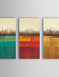 cheap -Oil Painting Modern Abstract Buildings Set of 3 Hand Painted Canvas with Stretched Framed