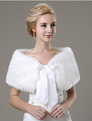 cheap -Sleeveless Faux Fur Wedding Party Evening Casual Fur Wraps Wedding  Wraps With Bowknot Shawls