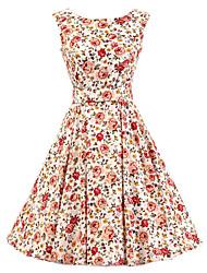 Women's White Floral Dress , Vintage Sleeveless 50s Rockabilly Swing Short Cocktail Dress