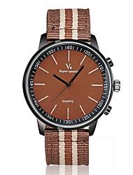 baratos -V6 Homens Quartzo Relógio de Pulso Venda imperdível Tecido Banda Amuleto Preta Marrom