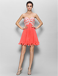 cheap -A-Line Sweetheart Short / Mini Chiffon Bridesmaid Dress with Appliques by LAN TING BRIDE®