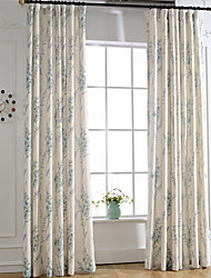 cheap -Curtains Drapes Bedroom Linen / Polyester Blend Print & Jacquard