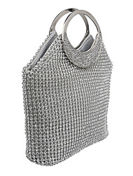 cheap -Women Bags Polyester Evening Bag Crystal/ Rhinestone for Wedding Event/Party Formal All Seasons Gold Silver