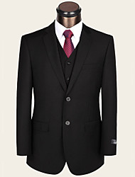 cheap -Black Solid Standard Fit Wool Viscose Suit - Notch Single Breasted Two-buttons