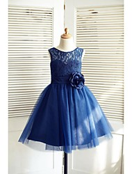 cheap -A-Line Knee Length Flower Girl Dress - Lace Satin Tulle Sleeveless Jewel Neck with Bow(s) Flower(s) Sash / Ribbon by Thstylee