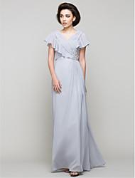 Linha A Decote V Longo Chiffon Vestido Para Mãe dos Noivos - Detalhes em Cristal Cruzado de LAN TING BRIDE®