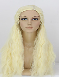 Hot Selling Girl Light Blonde  Long Syntheic  Wig Extensions  Charming And Beautiful