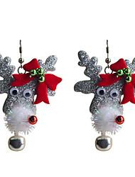 Brincos Compridos Chrismas Estilo bonito Europeu Liga Formato de Laço Formato Animal Veado Cinzento Jóias Para Festa Diário Casual 2pçs