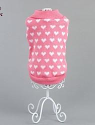 billige -Kat Hund Bluser Hundetøj Hjerte Lys pink Bomuld Kostume For kæledyr Herre Dame Afslappet/Hverdag