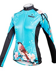 cheap -ILPALADINO Cycling Jersey Women's Long Sleeves Bike Jersey Top Bike Wear Quick Dry Breathable Floral / Botanical Cycling / Bike Bule/Black