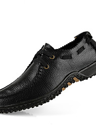 cheap -Men's Shoes Outdoor / Office & Career / Casual Leather Oxfords Black / Brown / Yellow / Khaki