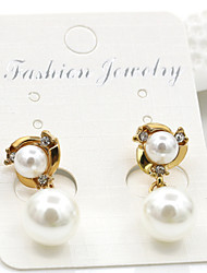 cheap -Imitation Pearl Drop Earrings Jewelry Wedding Party Daily Casual Alloy Imitation Pearl 1 pair Gold Silver
