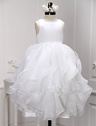 cheap -A-Line Ankle Length Flower Girl Dress - Organza Sleeveless Scoop Neck with Pleats Ruffles by LAN TING BRIDE®