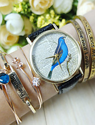 baratos -Mulheres Bracele Relógio Cronógrafo PU Banda Amuleto / Fashion Preta / Branco / Azul