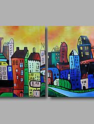 abordables -Peinture à l'huile Hang-peint Peint à la main - Abstrait Paysage Moderne Toile