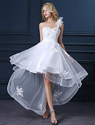 A-line One Shoulder Asymmetrical Satin Tulle Wedding Dress with Appliques by LAN TING BRIDE®
