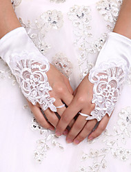 DIY Pearls and Rhinestones With White Fingerless Lace Glove Wrist Length Satin Wedding Bridal Gloves  Wedding Events Accessories
