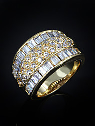 2015 Fashion Noble CZ Stone 18K Gold Plated Band Rings For Woman & Lady