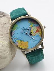 Недорогие -Жен. Модные часы Карта мира Кварцевый Кожа Черный / Белый / Синий Аналоговый Красный Зеленый Синий