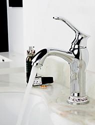 Montagem em Plataforma Válvula Cerâmica Monocomando e Uma Abertura Cromado , Torneira pia do banheiro