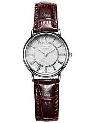 Недорогие -Женские Модные часы Кварцевый Защита от влаги Кожа Группа Черный / Белый / Красный / Коричневый / Розовый бренд-