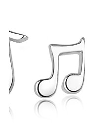 cheap -Women's Stud Earrings Mismatch Fashion Sterling Silver Silver Music Notes Jewelry Wedding Party Daily Costume Jewelry