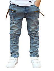cheap -New Children Boys Denim Pants Ripped Patches Elastic Waist Kids Casual Jeans Trousers