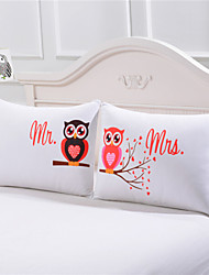 Body Pillowcase Mr and Mrs Owls Romantic Pillow Case Cover Valentine's Day Gift a pair of two 50cmx75cm