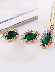 May Polly  The new micro inlaid CZ Color Gold Necklace Earrings Set