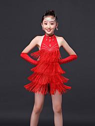 Недорогие -латинское платье для танцев / детские сладостные стразы / кистовидное платье 3 шт. мы будем использовать