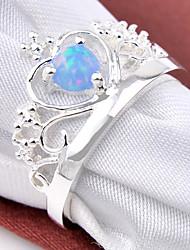 Mujer Anillos de Diseño Piedras Piedras preciosas sintéticas Plateado Forma de Círculo Forma de Corona Forma Geométrica Joyas Para Boda