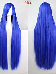 preiswerte -Modefarbe Cartoon Perücke 100 cm blauen langen geraden Haar Perücken