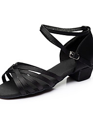 cheap -Women's Latin Shoes Satin Sandal / Heel / Sneaker Ribbon Tie Chunky Heel Customizable Dance Shoes Silver / Brown / Gold / Indoor / Performance / Practice / Professional