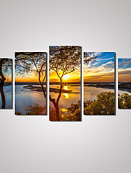 cheap -5 Panels Sunset River Landscape Picture Print Modern Wall Art on Canvas Unframed
