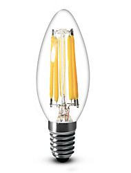 cheap -600 lm E14 LED Candle Lights C35 6 leds COB Dimmable Warm White AC 220-240V