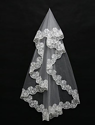 cheap -One-tier Lace Applique Edge Wedding Veil Blusher Veils Shoulder Veils Elbow Veils Fingertip Veils 53 Appliques Tulle