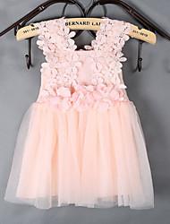 Girl's Blue / Pink / White Dress , Ruffle Polyester Summer