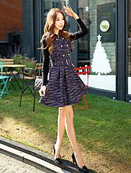 cheap -DABUWAWA Women's Jacquard Purple Dress , Work Stand Sleeveless Sundress