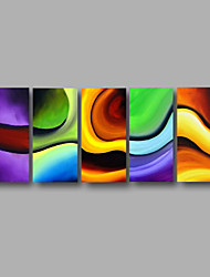 Ready to Hang Stretched Hand-Painted Oil Painting Four Panels Canvas Wall Art Modern Purple Blue Green Abstract
