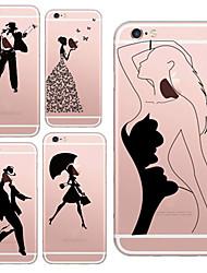 baratos -para iphone 7 belezas maycari® e dançarinos TPU transparente macio volta caso para iphone 6s 6 mais