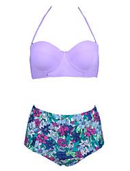 Bikinis Aux femmes Taille Haute / Volants / Couleur Pleine Push-up / Soutien-gorge Rembourré / Soutien-gorge à Armatures LicouNylon /