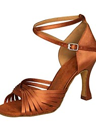 "cheap -Women's Latin Leatherette Satin Sandal Heel Indoor Professional Beginner Practice Buckle Stiletto Heel Mahogany Tan Black Red Brown 1"" -"