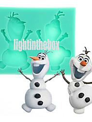 economico -Natale carino pupazzo di neve diy silicone cioccolato budino torta muffa colore casuale