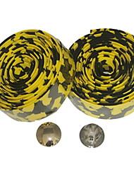 Strada Bike Fixed Gear Singola Velocità nastro manubrio Bar Wrap Leopard (giallo nero, 2 pezzi)