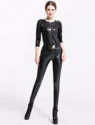 cheap -Women's Solid Black Skinny Pants , Sexy   Bodycon