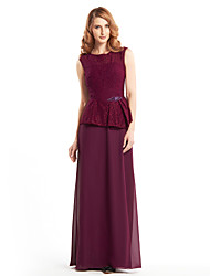 cheap -Sheath / Column Scoop Neck Floor Length Chiffon Lace Mother of the Bride Dress with Lace by LAN TING BRIDE®