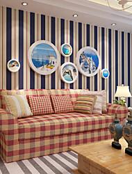baratos -Riscas Decoração para casa Moderna Revestimento de paredes, Papel não tecido Material papel de parede, Cobertura para Paredes de Quartos