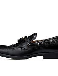 Недорогие -Муж. обувь Кожа Зима Осень Удобная обувь Топ-сайдеры Для прогулок Кружева для Свадьба Для вечеринки / ужина Черный Винный