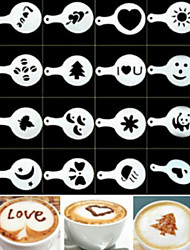 cheap -16PCS Plastic Fancy Coffee Making Printing Model Minimalist Design Dusting Pad